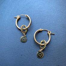 Load image into Gallery viewer, Gold Filled Hoops with Heart Charms