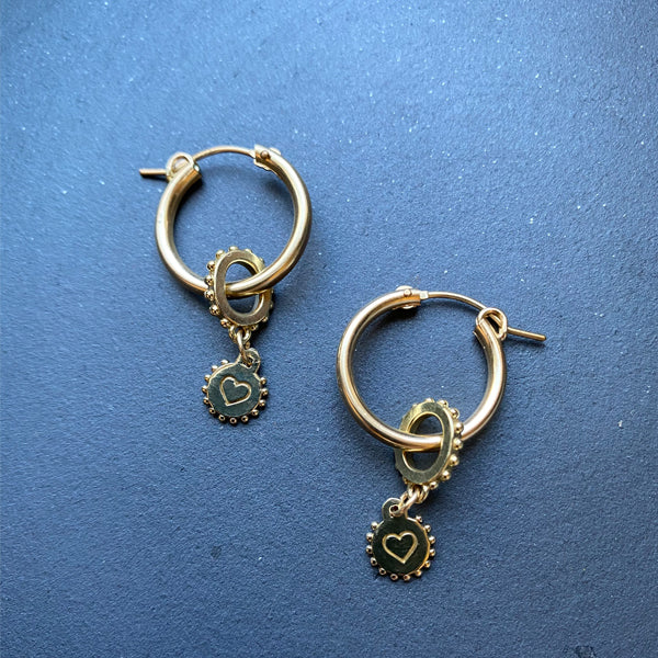 Gold Filled Hoops with Heart Charms