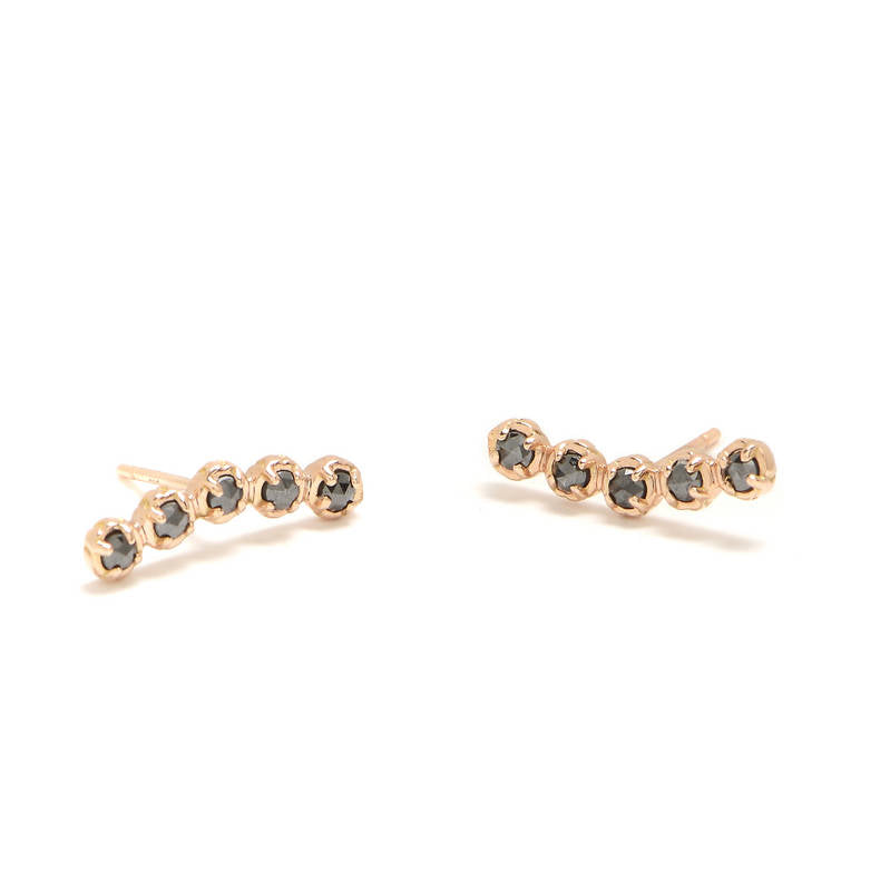Five Roses Crescent Earrings
