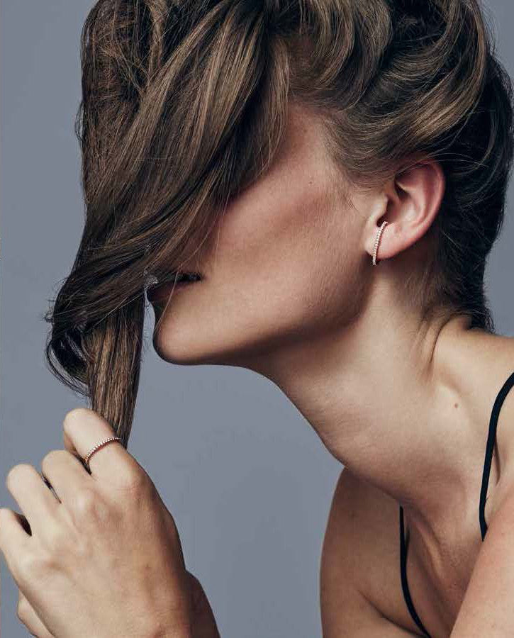 Single Black Diamond Line Ear Cuff