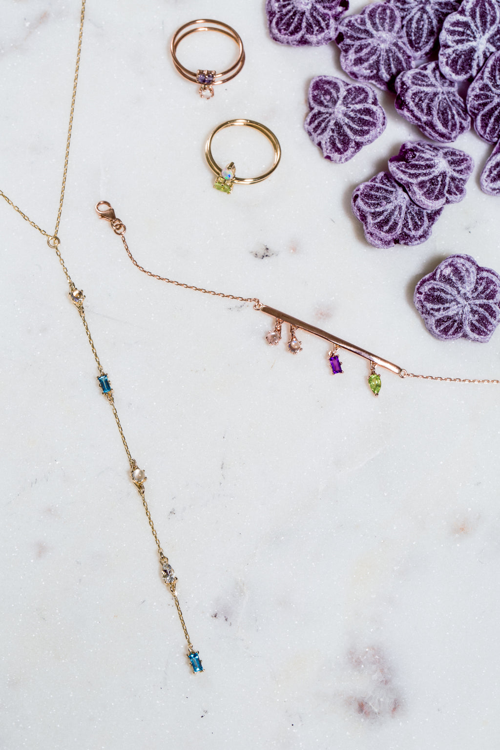 Tiny Stone Lariat Necklace
