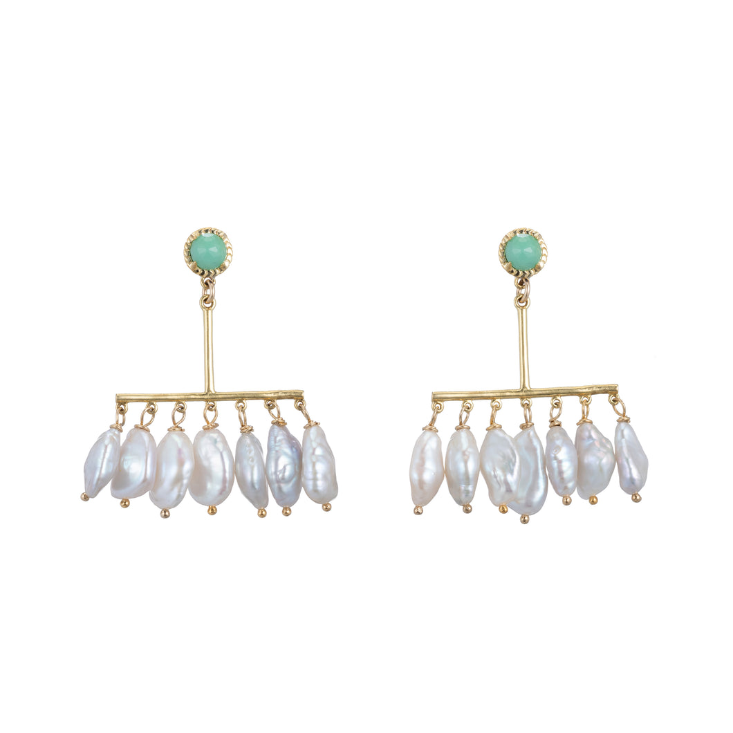 Chrysoprase and Keshi Pearl Chandelier Earrings