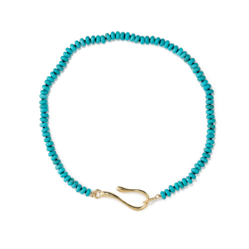 turquoise necklace with brass closure