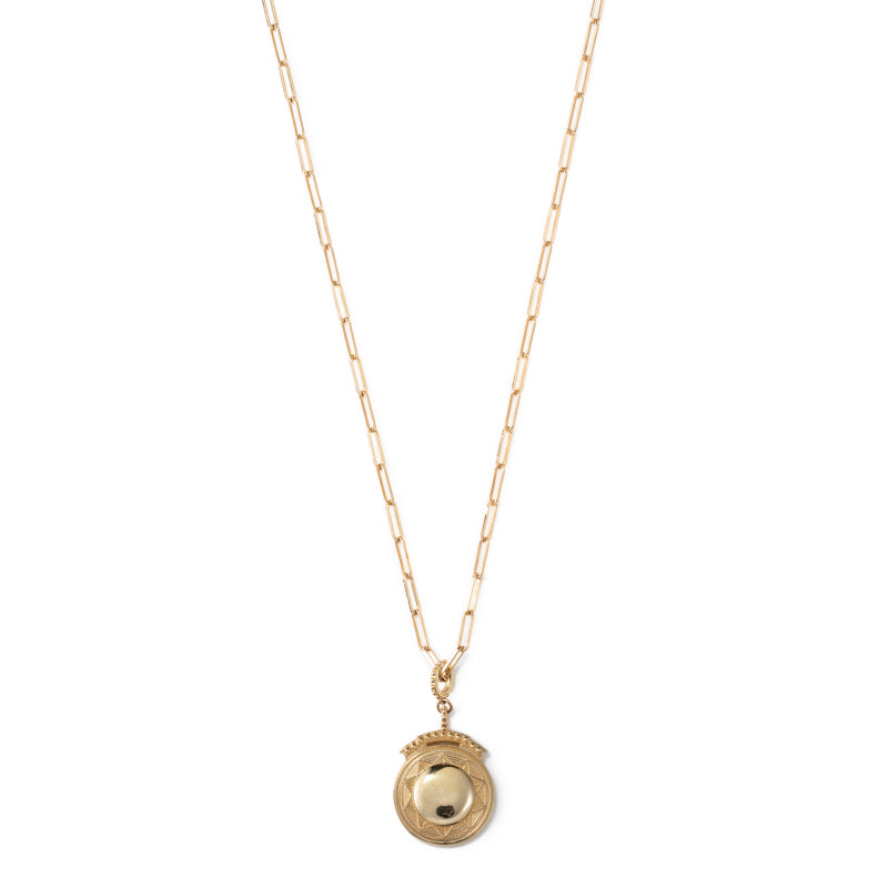 Round Gold Colored Pendant on Gold Colored Chain