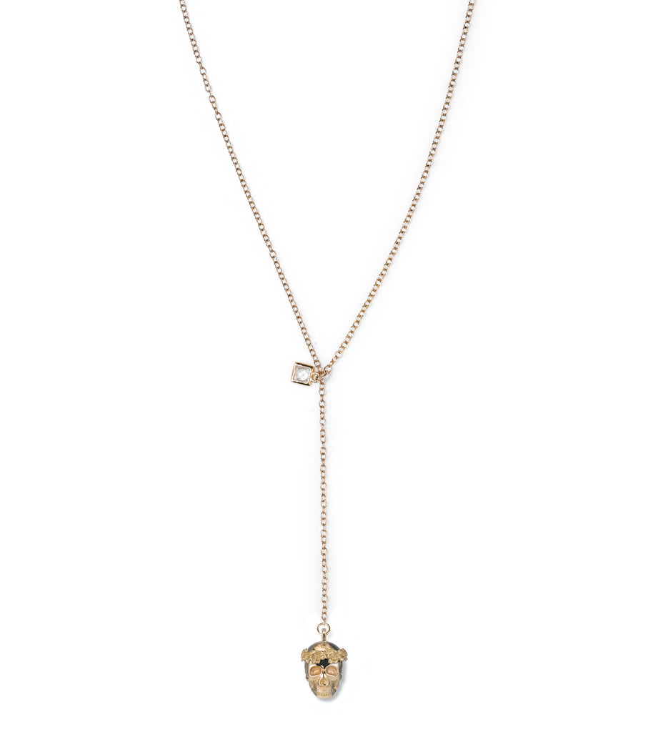 Floral Skull Lariat  Necklace
