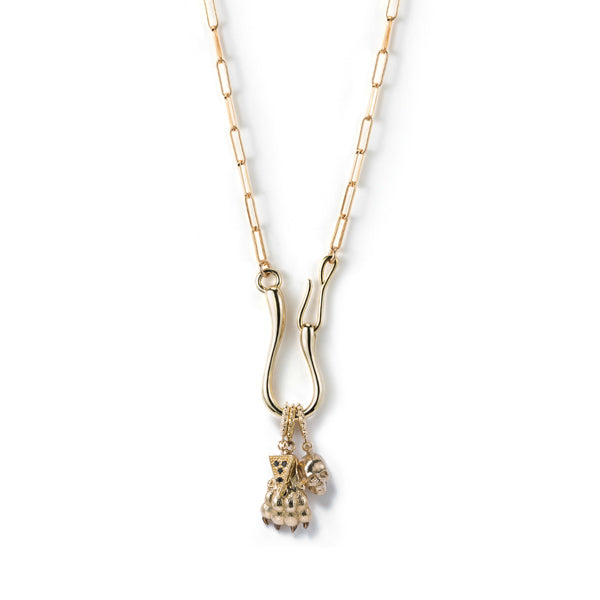 Paw + Skull Hook Catch Charm Necklace- LT