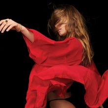 Load image into Gallery viewer, Blonde Girl wearing Red Silk Kimono Robe dancing with Robe flying through the air