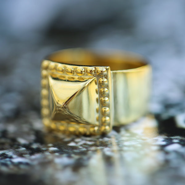 Pyramid Stud Ring- 14K Yellow Gold Vermeil