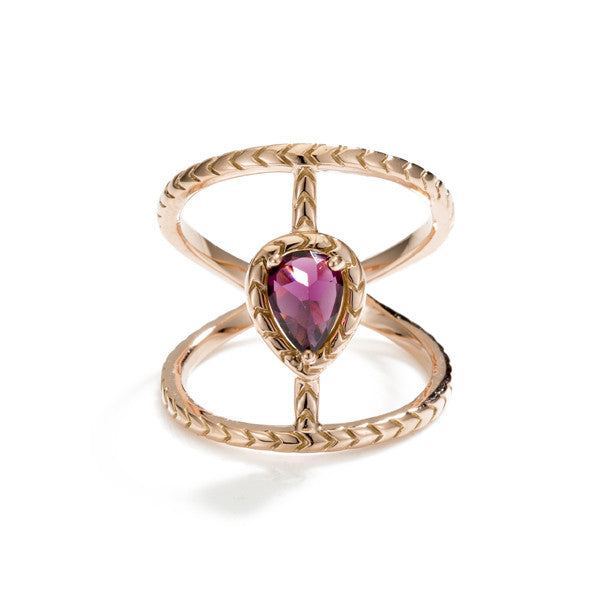 Chevron Bridge Love Twist- Rhodolite
