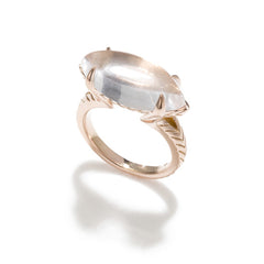 Chevron Marquis Ring- 14K Gold Vermeil with White Topaz