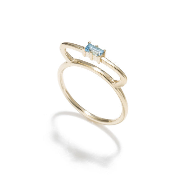 Tiara Bar Ring- Blue Topaz Baguette 14K Yellow Gold