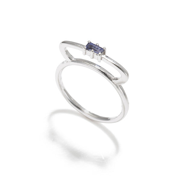 Tiara Bar Ring- Baguette Iolite