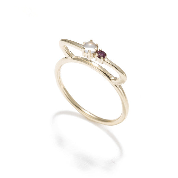 Tiara Bar Ring-Moonstone Ruby