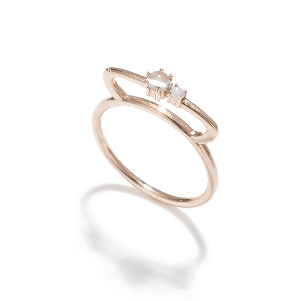 Tiara Bar Ring- Moonstone