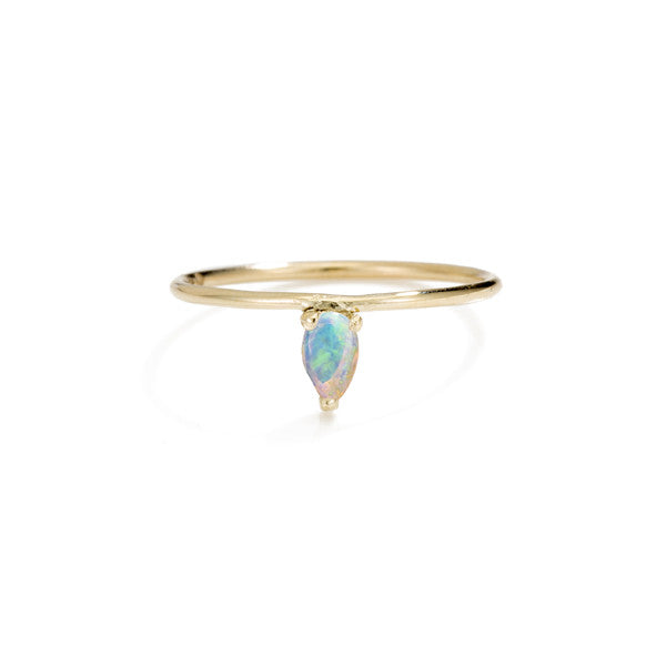 Tiny Stone Tiara Ring- Pear Opal