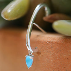 Charm Line Ear Cuff- Sterling with Turquoise