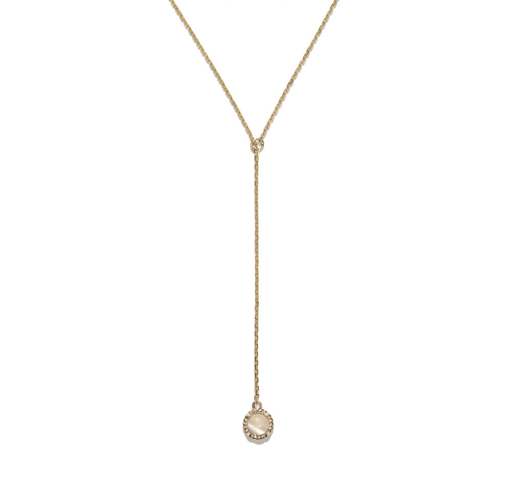 Stone Lariat Necklace- Moonstone