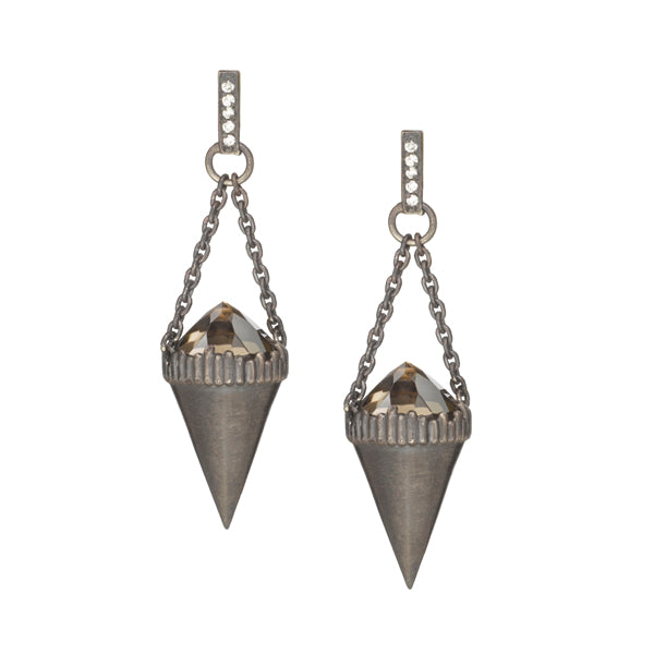 Stone Pendulum Earrings- Oxidized Sterling Silver
