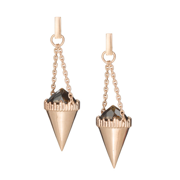 Stone Pendulum Earrings- 14K Rose Gold Vermeil