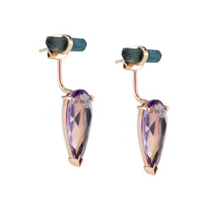 Tourmaline + Amethyst Ear Jacket