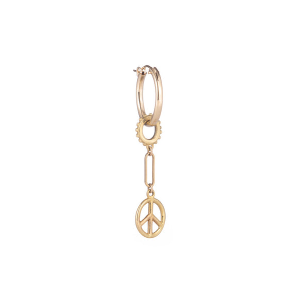 Single Peace Charm Hoop Earring