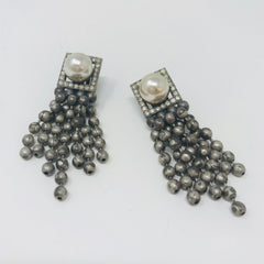 Pearl Ball Chain Clip-On Earrings