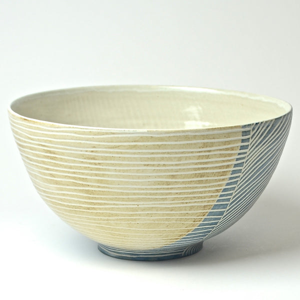 Contour Lines Collection: Large Serving Bowl (turquoise/terra)