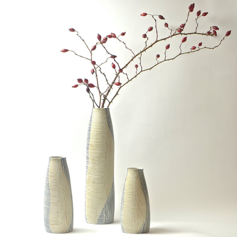 Contour Lines Collection: 3 Piece Stork Vase Set (ombra/terra)