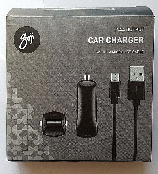Goji 2.4A Car Charger with Micro USB Cable Retail Packed