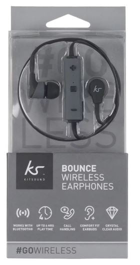 KITSOUND Bounce Wireless Sport Bluetooth Headset Black Retail Packed