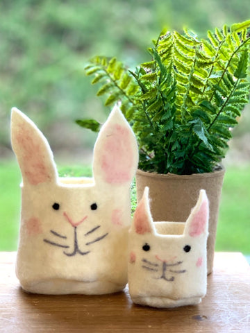 Felt Bunny Bucket For Plant or Candy Container Easter