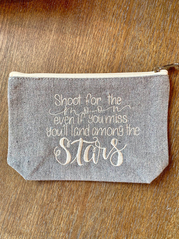 Shoot for the moon embroidered pouch