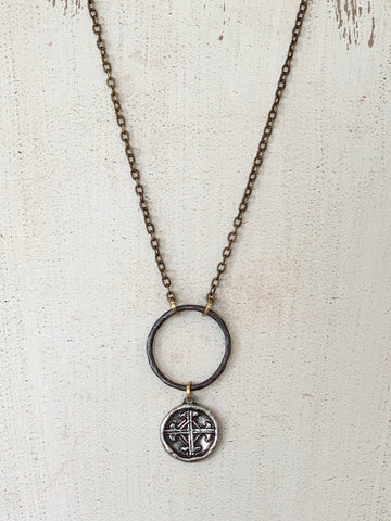 Leather Cross Necklace | Orange