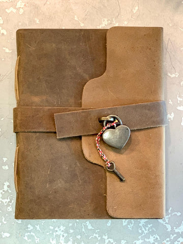 Leather Journal with Heart Lock