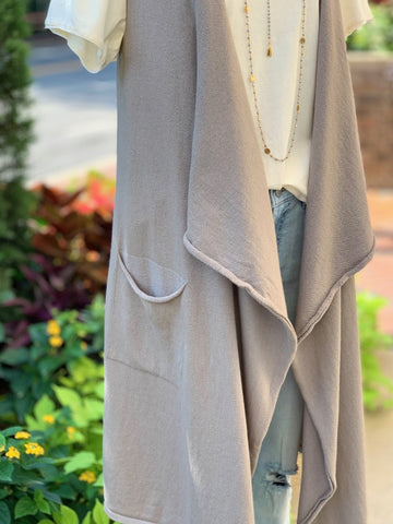On Cloud Nine Cardigan Vest - Taupe