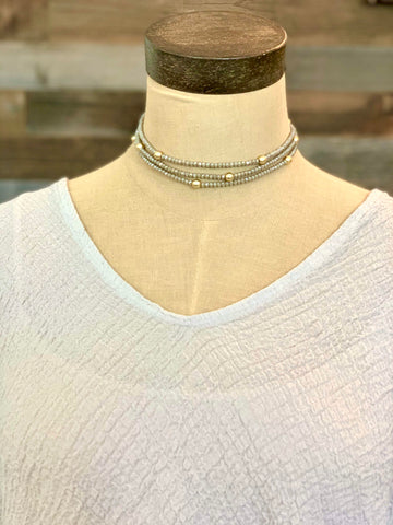 Mixed Metal Stretch Necklace