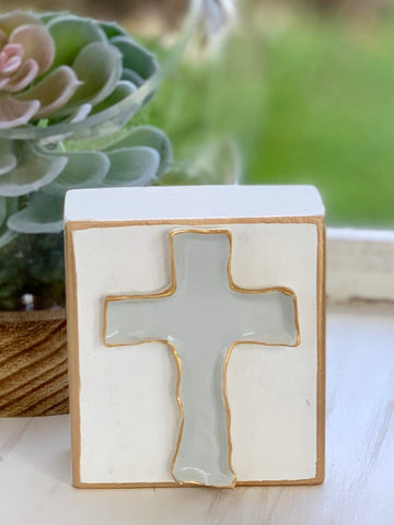 Painted Clay Cross Block - Square