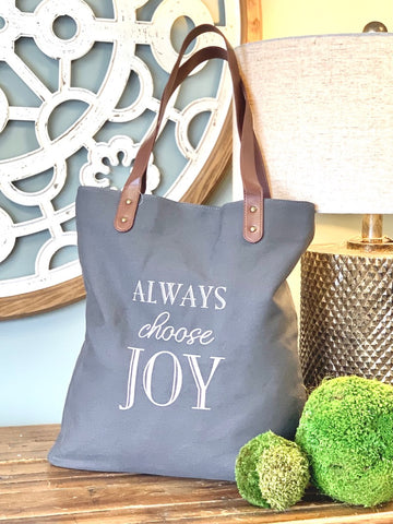 Always choose joy tote gray tote bag