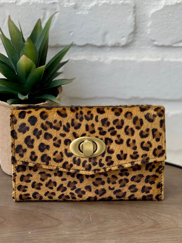 Animal Print Leopard Sass Hair on Hide Leather Wallet Turn Lock Clasp
