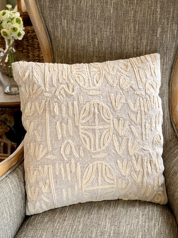 Set the Tone Pillow Cream Beige Square Throw Pillow Sofa Pillow Tone on Tone Pillow Decorative Pillow