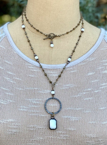 Awakening Necklace White Crystal Adjustable Gun Metal Brass