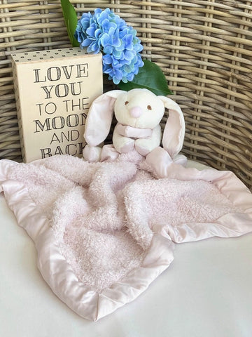 Barefoot Dreams CozyChic Barefoot Buddie Baby Bunny Pink Comfort Stuffed Animal with Small Blanket Pink