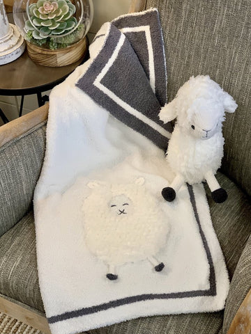 Barefoot Dreams CozyChic Lamb Baby Blanket Ivory Gray