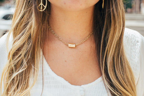 Barrel on Double Gold Chain Necklace
