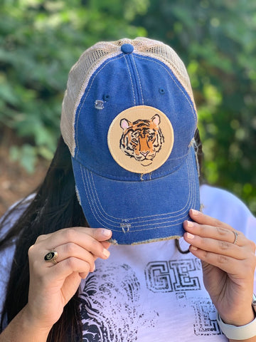 Fierce Tiger Hat Round Patch Trucker Adjustable Hat