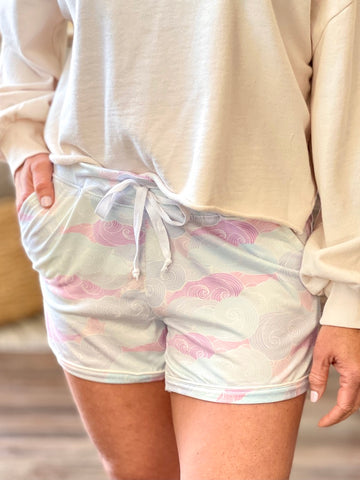 Hello Mello Lounge Shorts - Head in the Clouds Pink Blue Drawstring Shorts HMDSS-U36-IC