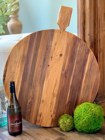 Reclaimed Wood Round Footed Serving Board Oversized 22 inch