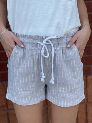 Living Topside Short Taupe Stripe Drawstring shorts Pockets