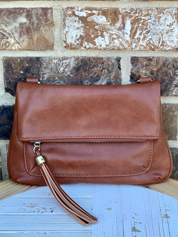No Hassle Tassel Crossbody Bag Cognac