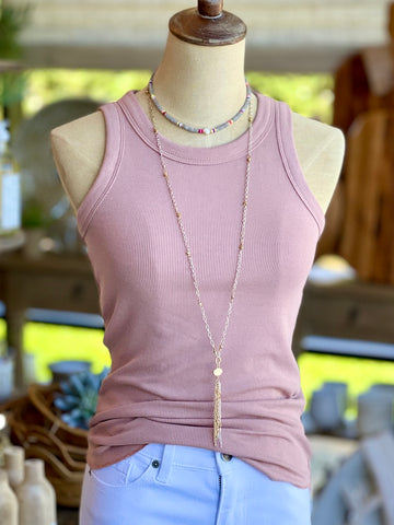 Perfect Fit Ribbed Tank - Dusty Rose Tank Top Racerback Muted Rose Sleeveless